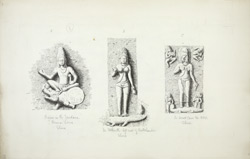 Ellora: Figures from Dumar Lena (left), Nilkanth (centre), and Cave XXIV (right)